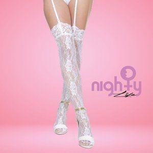 Rhinestone Thigh High White Lace Stockings